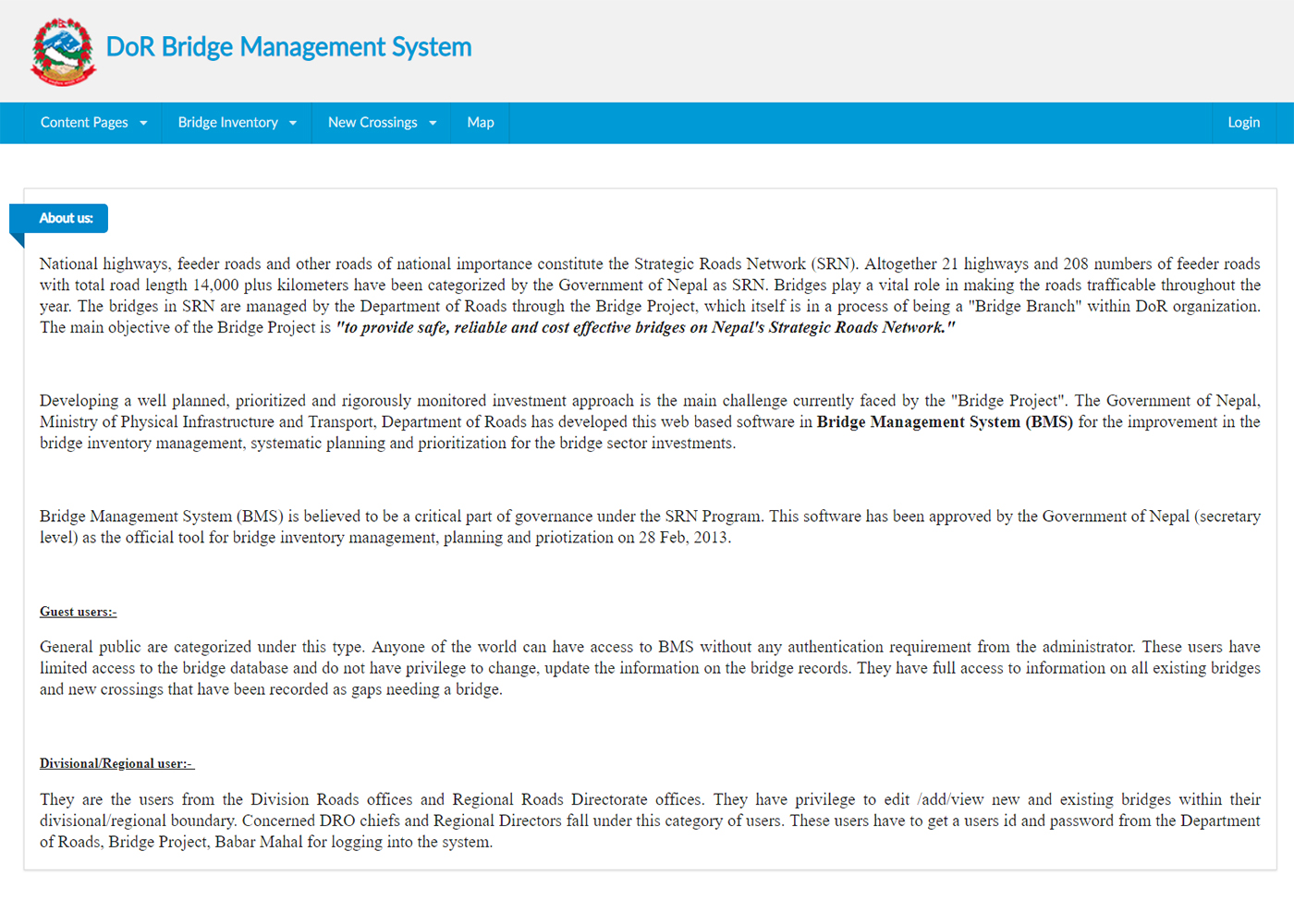 DOR Bridge Management System